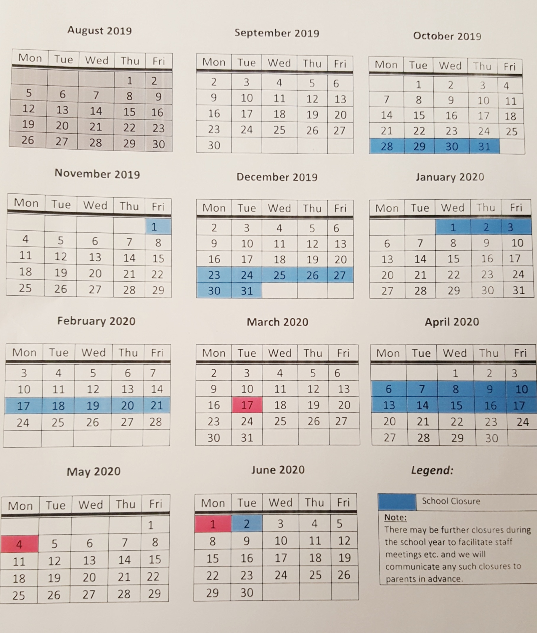 School Calendar 2019/2020